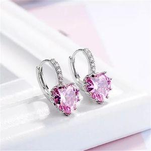Pink heart shape crystal earrings